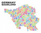 Mosaic Technical Saarland Land Map Isolated On A White Background. Vector Geographic Abstraction In  poster