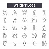 Weight Loss Line Icons For Web And Mobile Design. Editable Stroke Signs. Weight Loss  Outline Concep poster
