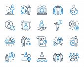 Management Line Icons. Set Of Business Audit, Startup Strategy And Employee Icons. Business Strategy poster