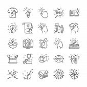Creativity Brush Line Icons. Set Of Inspiration, Idea And Design Linear Icons. Imagination, Idea Box poster