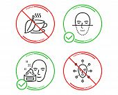 Do Or Stop. Face Cream, Mint Tea And Face Recognition Icons Simple Set. Gel, Mentha Beverage, Faces  poster