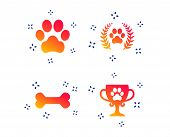 Pets Icons. Dog Paw Sign. Winner Laurel Wreath And Cup Symbol. Pets Food. Random Dynamic Shapes. Gra poster