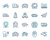 Transport Line Icons. Taxi, Helicopter And Subway Train Icons. Truck Car, Tram And Air Balloon Trans poster