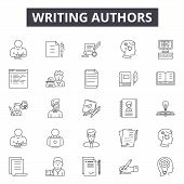 Writing Authors Line Icons For Web And Mobile Design. Editable Stroke Signs. Writing Authors  Outlin poster