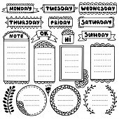 Bullet Journal Hand Drawn Vector Elements For Notebook, Diary And Planner. Doodle Frames Set Isolate poster
