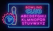 Bowling Neon Sign Vector. Neon Frame Bowling Club Design Template, Light Banner, Night Signboard, Ni poster