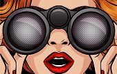 Color Vector Pop Art Style Illustration Of A Girl Looking Through Binoculars. Female Surprised Face  poster