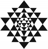 Mandala Sri Yantra Chakra Tantra Spirituality Esoteric Zen Illustration Black White poster