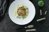 Dish With Meat Pieces, Pasta, Greens, Sauce From A Foie Gras And The Olive Earth poster