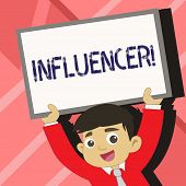 Word Writing Text Influencer. Business Concept For Person Who Influences And Affect Decisions Opinio poster