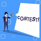 Handwriting Text Writing Contest. Concept Meaning Game Tournament Competition Event Trial Conquest B poster
