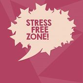 Conceptual Hand Writing Showing Stress Free Zone. Business Photo Text Space Students Can Learn And R poster