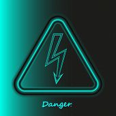 Realistic Neon High Voltage Sign. Turquoise Modern Bright Glowing Danger Symbol In Black Backdrop. L poster