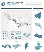 Vector Map Set.  High Detailed 7 Map Of Countries In Central America With Administrative Division An poster
