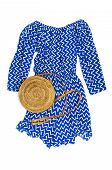 Stylish Trendy Feminine Summer Clothing Blue Dress Jumpsuit, Round Rattan Bag On White Background Tr poster