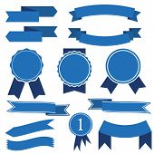 Set Of Blue Ribbon Banner Icon,arch Ribbon Banner,ribbon Vector Banner, On White Background poster