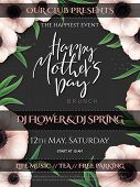 Vector Illustration Of Mothers Day Invitation Party Poster Template With Realistic Blooming Anemone  poster