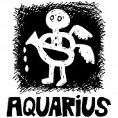 hand drawn sign of the zodiac aquarius isolated on white background