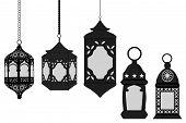 Illustration On Theme Big Set Different Types Lanterns, Lamp To Celebration Holiday Ramadan. Lantern poster