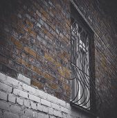 Fragment Of The Old Building. Old Brick Wall With A Window. Very Old Building And Window. Window Wit poster