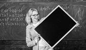 Teacher Show School Information. Remember This Information. Teacher Smart Smiling Woman Hold Blackbo poster