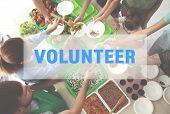 Volunteers Serving Food For Poor People Indoors, Top View poster
