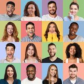 Set Of Millennials Emotional Portraits. Young Diverse People Grimacing And Gesturing At Colorful Stu poster