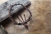 Jesus Crown Thorns And Nails On Old And Grunge Wood Background. Vintage Retro Style. poster
