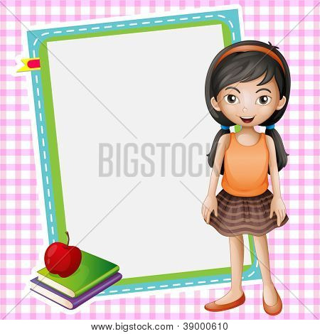 illustration of a girl, books and a white board