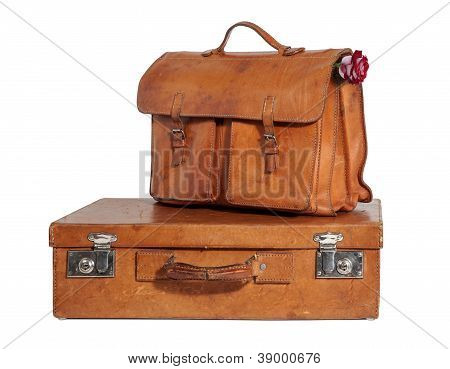 Well-traveled Vintage Suitcase And Briefcase