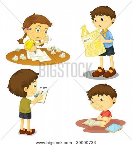 illustration of a four kids on a white background