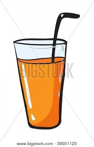 illustration of glass adn straw on white background
