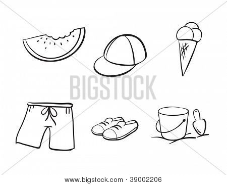 detailed sketches of various objects on a white background