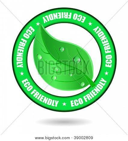 eco friendly emblem with leaf