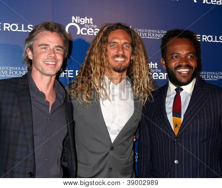 LOS ANGELES - NOV 11:  Sam Trammell, Rob Machado, Sal Masekela arrives at the Life Rolls On Foundation's 9th Annual Night By The Ocean at The Ritz-Carlton on November 11, 2012 in Marina del Rey, CA