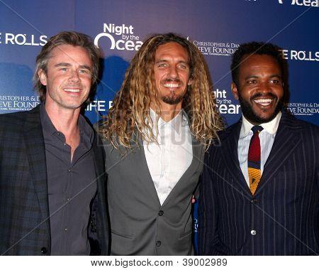 LOS ANGELES - NOV 11:  Sam Trammell, Rob Machado, Sal Masekela arrives at the Life Rolls On Foundation's 9th Annual Night By The Ocean at The Ritz-Carlton on November 11, 2012 in Marina del Rey, CA