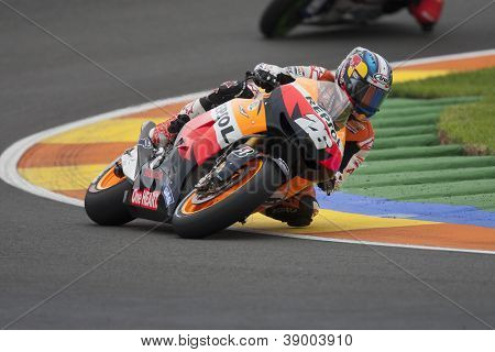CHESTE - NOVEMBER 11: Dani Pedrosa during MOTOGP Race of the Comunitat Valenciana, on November 11, 2012, in Ricardo Tormo Circuit of Cheste, Valencia, Spain