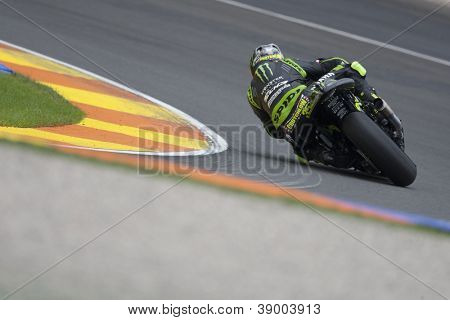 CHESTE - NOVEMBER 11: Cal Crutchlow during MOTOGP Race of the Comunitat Valenciana, on November 11, 2012, in Ricardo Tormo Circuit of Cheste, Valencia, Spain