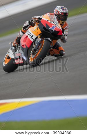 CHESTE - NOVEMBER 11: Casey Stoner during GP of the Comunitat Valenciana, on November 11, 2012, in Ricardo Tormo Circuit of Cheste, Valencia, Spain