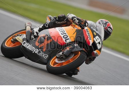 CHESTE - NOVEMBER 11: Marc Marquez during Moto2 race in GP of the Comunitat Valenciana, on November 11, 2012, in Ricardo Tormo Circuit of Cheste, Valencia, Spain