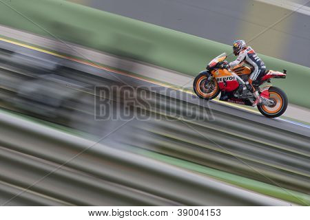 CHESTE - NOVEMBER 11: Dani Pedrosa during MOTOGP Race of the Comunitat Valenciana, on November 11, 2012, in Ricardo Tormo Circuit of Cheste, Valencia, Spain