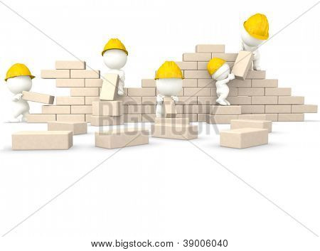 3D construction guys building a wall - isolated over a white background