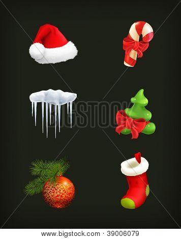 Christmas set, vector on black