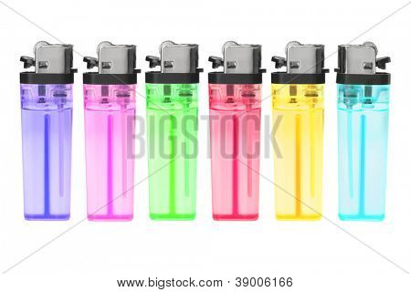 Row of Disposable Plastic Gas Lighters on White Background