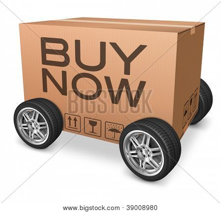 buy now webshop icon cardboard box with wheels and text concept for web shop online order package delivery