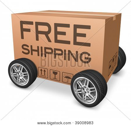 free shipping package delivery web shop icon concept for online webshop order shipping cardboard box with text and wheels