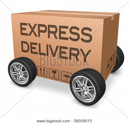 express delivery web shop icon package shipping from online order on internet webshop cardboard box with text and wheels nobody
