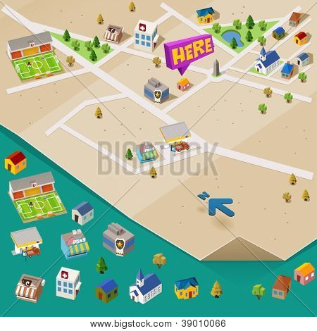 Pre assembled isometric map. Vector Illustration