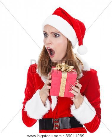 Give me some more! excited santa girl hold gift box, isolated on white background
