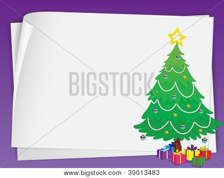 illustration of paper sheets ans chritmas tree